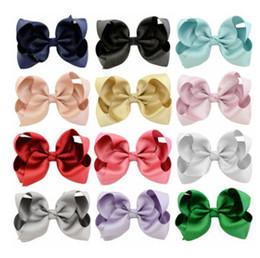 Wholesale Black Bow Hair Clip - 10 CM Children Bows hair clip fashion girls hair accessories hairpins Kids Boutique grosgrain ribbon Bows barrettes hair grip R0709