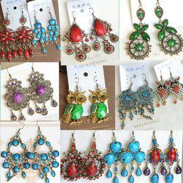 Wholesale gemstone hearts wholesale - Mixed vintage bohemian earrings galzed gemstone resin bronze silver long tassel statement bohemian dangle fashion jewelry bulk