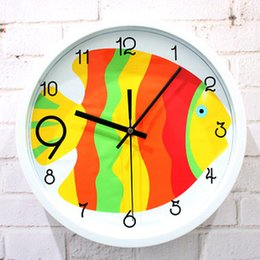 Wholesale Silent Digital Clock - Fashion cartoon fish tropical fish wall clock table quartz child real silent