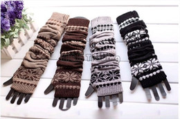 Wholesale Crochet Fingerless Gloves Wholesaler - 4 Colors Long Snowflake Knitted Glove Warm Hand Wrist Oversleeve Fingerless Gloves Fashion Women Winter Crochet Glove Cotton Blend