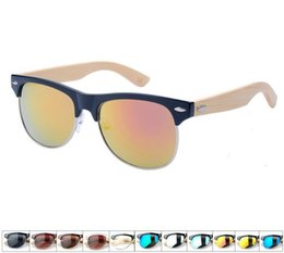 Wholesale club bamboo - Brand Designer Wood Sunglasses Vintage Club Bamboo Sun Glasses Men Coating Wooden Sunglass Gafas Oculos De Sol 1029
