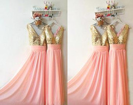 Wholesale Trendy Chiffon Dresses - Best Quality Sequined Chiffon Shiny Long Bridesmaid Dresses Cheap Prom Evening Ruffles Sleeveless Custom Vestidos Trendy Bridesmaid Dress