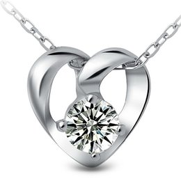 Wholesale Solid 925 Sterling Silver Necklace - wholesale pendant Sterling silver solid 925 silver AAA zircon inlaid heart pendant women gift iice latest fashion Jewelry free shipping NO99
