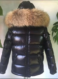 Wholesale Men S Large Jackets - M17 Brand Men Winter Duck Down Coat 100% Real Large Raccoon Fur Collar Down Jacket Hooded Thick Down Parkas Black Color
