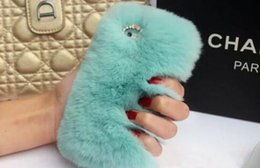 Wholesale phone cover galaxy s4 - Real rex Rabbit soft Fur Phone diamond cover Case For Iphone X 8 7 6 6S Plus 5C Samsung Galaxy Note 5 4 S7 S6 Edge S5 S4 s8 new hot 2018