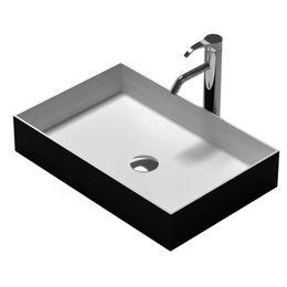Wholesale rectangular wash basins - Rectangular Bathroom Solid Surface Stone Under Top Vessel Sink And Fashionable Matt Or Glossy Wash Basin RS38337