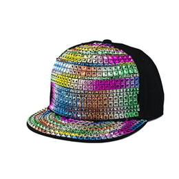 Wholesale New Fashion colorful sport caps snapback baseball outdoors women s sun hat active summer crystal stones decorated
