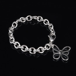 Wholesale Crystal Butterfly Bracelet Set - Free Shipping with tracking number fashion Top Sale 925 Silver Bracelet Hollow butterfly Bracelet Silver Jewelry 10Pcs lot cheap 1811