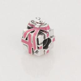 Wholesale Pandora Pink Ribbon - 925 Sterling Silver Pink Ribbon Present Charm Bead with Pink Enamel Fits European Pandora Jewelry Bracelets & Necklaces