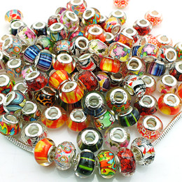 Wholesale European Big Hole Beads - Mix Sale Fashion Handmade Lampwork Big Hole Beads DIY European Brand Bracelets Loose Beads Jewelry Accessories