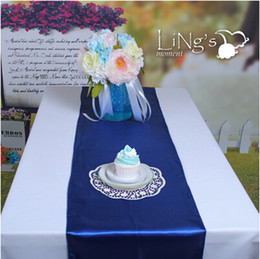 Wholesale Blue Satin Table Runners - Royal Blue Fashion Satin Table Runners Wedding Banquet Cloth Runners For Holiday Favor Party Supplies New Arrival