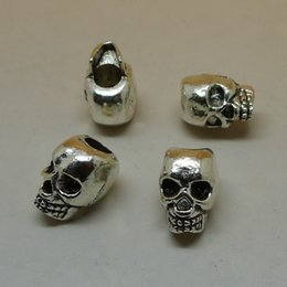 Wholesale Spacer Findings - 100PCS Hole:4MM Antique Silver tone Skull Slider Spacer Beads Pendant Charm Finding,for Bracelet & Necklace,DIY Accessory