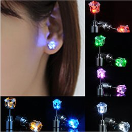 Wholesale Earring Accessories For Men - Light Up Led Stainless Steel Earrings Studs Glow Earrings Dance Party Accessories for Xmas New Year Men Women Sale Free Shipping