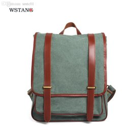 Wholesale Men S Leather Backpacks - Wholesale-W S TANG 2015 new canvas bag double backpack man climbing package retro leather canvas bag