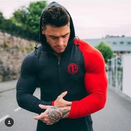 Wholesale White V Neck Hoodie - Wholesale- Hot Sale Bodybuilding Hoodies Men Animal Gyms Sweatshirts Long Sleeve Cotton Sportwear Fitness Pullover Muscle Tops