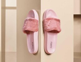 Wholesale Woman S Heels - 2017 Leadcat Fenty Rihanna Shoes for Women Slippers Indoor Sandals Girls Fashion Scuffs Pink Black Grey Fur Slides Star SWith Women's S