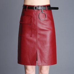 6744177890a76 Womens Knee Length Hight Waisted Straight Leather Skirts Female Faux Leather  Casual Formal Skirts Long Black Red Plus Size 3XL 4XL