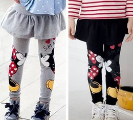 Wholesale Kids Winter Pants Legging - Baby girls pants kids children clothing mickey autumn winter spring skirt girl legging 2 colors free shipping