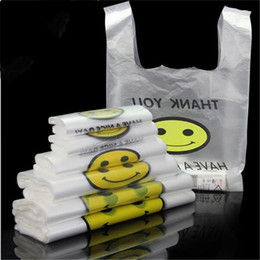 Wholesale material shopping bags - Thicken 5wire Shopping Hand Bag Transparent Smiling Face Vest Bags New Material Durable Plastic Packaging Bag Pouches