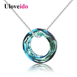 blue agate pendants Coupons - Uloveido 40 % Off Cute Necklaces & Pendants Colar Necklace Women Suspension Silver 925 Jewelry Collier Blue Zircon With Box Wt150