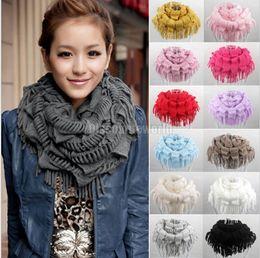 Wholesale Knit Fringe Snood Scarf - 2015 Hot Selling Fashion New Women Winter Warm Knit Fringe Tassel Neck Wraps Circle Snood Scarf Shawl lady girls fashion scarves