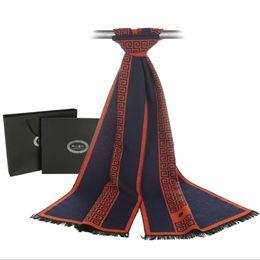 Wholesale Ethnic Shawls - Scarf luxury designer Men Classic Business Warm Cashmere Scarf Soft Tassel ethnic Shawl Wrap Winter scarf men scarves