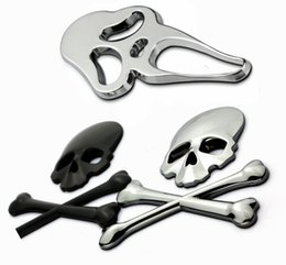 Wholesale Car Skull Emblems - Gold Black Silver Cross Bones Skull Chrome Metal Scared Car Emblem 3D Badge Sticker metal Chrome Emblem Decorations Decals Styling Logo 1561
