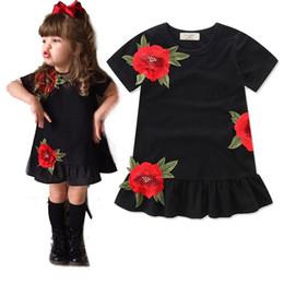 Wholesale Toddler Elegant Dress - Summer Baby Girl Dress Embroidered Rose Flower Short Sleeve Kids Clothes Dresses Elegant Toddler Girls Partywear Dress Black A7789