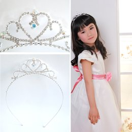 Wholesale Copper Hair Pins - Popular children cute Baby Headband girl hair pins hair tiara comb large hair crowns alloy Rhinestone designs jewelry S-HG913