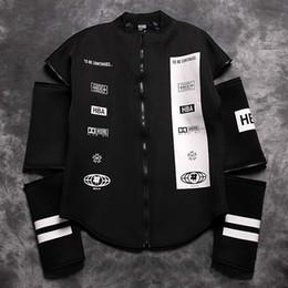 Wholesale Air Fleece - jh winter HOOD BY AIR HBA men jacket sleeves detachable windbreaker zipper Cardigan coat cotton hoody fleece outwear boys jacket