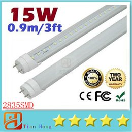 Wholesale T8 Fluorescent Tube Covers Frosted - 1400 lumens 15W 3ft 0.9m T8 Led Tubes Light Frosted Transparent Cover 120 Angle Warm Natural Cool White 90cm Led Fluorescent Lights 85-265V