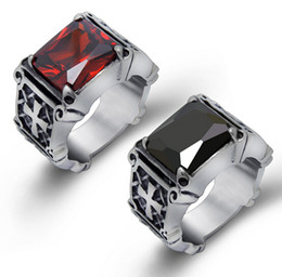 Wholesale stainless steel cross rings mens - High Quality Fashion Hiphop Red   Black Big Rhinestone Stone Biker Mens Silver Stainless Steel Punk design Cross Ring 7-12#