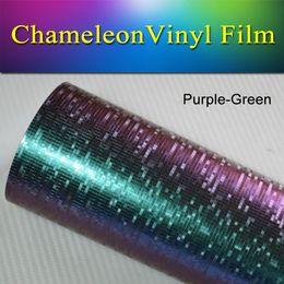 Wholesale Green Chameleon Carbon Fiber Wrap - 1.52x30m(5x98FT) Purple-Green Textured matt Mosaik Vinyl Chameleon vinyl Sticker Decal Car Vinyl Wrap for vehicle wrapping