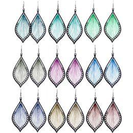 brincos de folhas azuis Desconto Brincos de linha Folha 9 Cores Atacado Lotes Gancho Moda Charme Dangle Artesanato Mulheres Menina Eardrop Hot (Verde Azul Marrom Borgonha) (JT011)