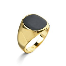 Wholesale Rose Onyx - 2016 Fashion High Quality Men Black Ring White Gold  18k Gold  Rose Gold Plated Party Jewelry