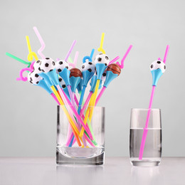 Wholesale Football Supplies - Cartoon Football Basketball Drinking Straw Cute Color PP Juice Milk Straw Christmas Gift Party Decoration SD974