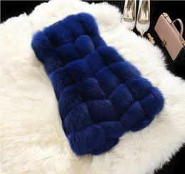 Wholesale Hot Fashion Long Fox Fur Women Vests Winter High Quality Fur Long Sleeveless Women Faux Fur Coats Outwear Women Clothing