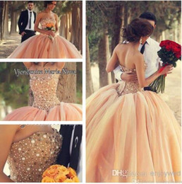 Wholesale Peach Tulle Wedding Dresses - New Peach Strapless Organza Ball Gown Quinceanera Dresses Floral Colorful Wedding Dresses Beaded Crystals Tulle Prom Dresses BO3000
