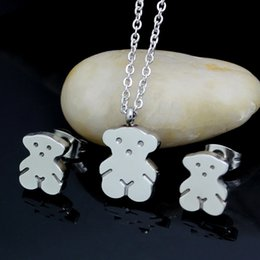 Wholesale First Stainless Steel - Small bear ear nail Pendant Stainless steel bear suit women suit first jewelry necklace earring wholesale