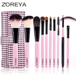 Wholesale Make Up Brushes Zoreya - Zoreya Brand 10pcs Pink Cosmetic Brushes Basic Makeup Set Beauty Makeup Tool Professional Make Up Brush Kit