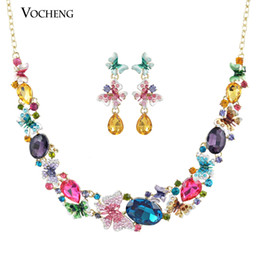 Wholesale Gorgeous Wedding Jewelry - Luxury Gorgeous! Colourful Butterfly Austrian Crystal Statement Necklace and Earring Jewelry Set (Vs-161) Vocheng Jewelry