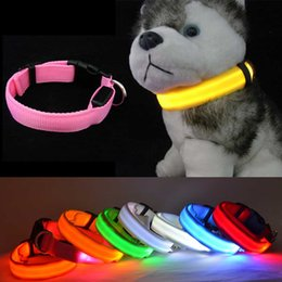 Wholesale Led Collar Harness Light - Colorful Electric LED Pet Collar LED Light-up Flashing Glow In The Dark Flash Night Outdoor Safety For Dog harness All Seasons