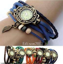 Wholesale Cow Leather Watches - High Quality Cow Leather Strap Casual watches Women Genuine Leather Vintage Watch Leaf pattern bracelet Wristwatch 7 Colors Christmas Gifts