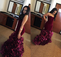 Wholesale Strapless Sweetheart Chiffon Dress - 2018 New Burgundy Long Mermaid Prom Dresses Rose Floral Flowers Tiered Sweetheart Velvet Plus Size Formal Party Gowns Evening Dress Vestios