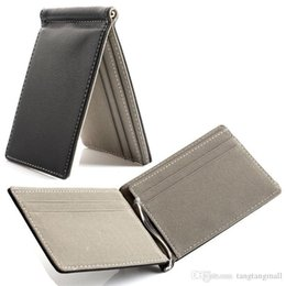 Wholesale Leather Bifold Money Clip Wallet - Faux Leather Slim Mens credit card wallet Money Clip Contract Color Simple Design Burnished Edges Brand New Men Bifold Wallets A5