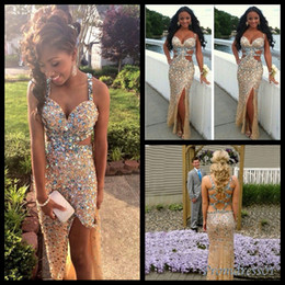 Wholesale Sweetheart Colorful Prom - 2016 Beaded Sexy Prom Dresses High Quality Colorful Crystals Shining Long Prom Party Dress with Cross Back Side Slit Formal Dress for Women