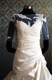 Wholesale Lace Jackets For Wedding Dresses - New Arrival Elegant White Bolero with Bone lace on Sheer Tulle Half Sleeves Applique Custom Made Wrap Bridal Accessories For Wedding Dresses