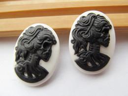 Wholesale 18x25mm Resin - 50pcs 18x25mm Black White Oval Flatback Resin Beauty Skull Head Cameo Charm Finding,Phone Decoration Kit,DIY Accessory Jewellry
