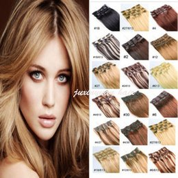 """Wholesale Human Hair Extensions 5a - 5A 14""""- 26"""",10pcs Unprocessed Brazilian remy Hair straight clip-in hair remy human hair extensions, 12 colors for choose ,180g set,"""