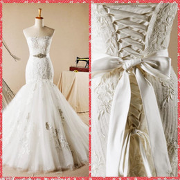 Wholesale Pearl Beads Online - Strapless Mermaid Wedding Dresses Lace Appliques Chapel Train Bridal Gowns Lace Up Back 2015 Beautiful Crystal Beaded Ribbon Custom Online